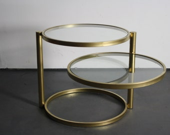 Two Tier Brass Regency Side Table