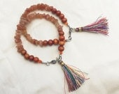 Orange Tassel Bracelets with Aventurine Chips, Layering Bracelets, Peach Aventurine, Wooden Bracelet