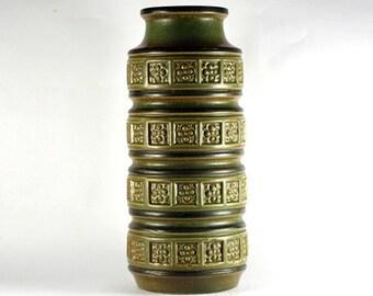 Scheurich vase, Alaska series model 268-30 West-Germany, vintage ceramic, light green and brown