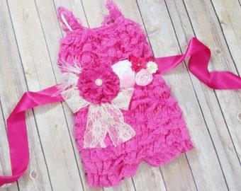 Hot Pink Romper // Pink Romper // Lace Romper