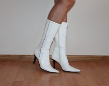 White Boots Women Boots White Bridal Boots Snow White Women's Shoes High Heel Pointy Toed Wedding Shoes Bridal Size 38