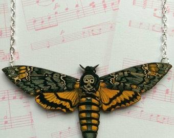 Death head moth necklace wooden Death head moth statement necklace. Large death head hawk moth pendant necklace moth butterfly jewellery