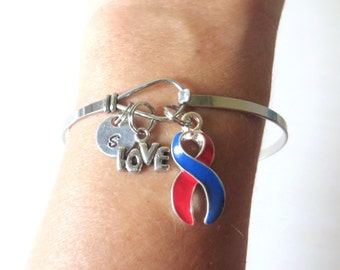 Red and Blue LOVE HOPE Customizable Awareness Charm Stainless Steel Bangle Bracelet With Optional Love Hope and Letter Charm