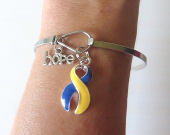 Down Syndrome LOVE HOPE Customizable Awareness Ribbon Stainless Steel Bangle Bracelet With Optional Love Hope and Letter Charm