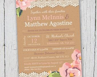 Rustic Printable Wedding Invitation, Vintage Printable Wedding Invitation, Printable Wedding Invitation, Floral Wedding Invitation, DIY