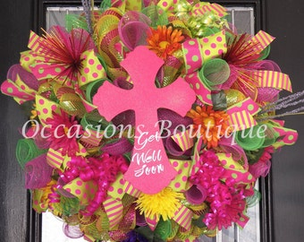 Get Well Soon Gift, Get Well Soon Wreath, Front door wreath, Wreath for door, Floral Wreath, Door Hanger, Deco Mesh Wreath, Ready to Ship