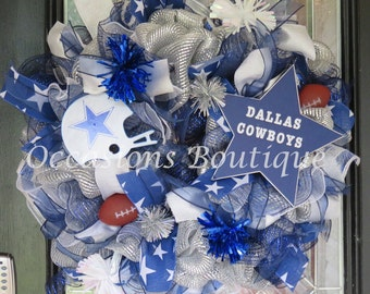 Dallas Cowboys Wreath, Dallas Cowboys football, Door Hanger, NFL Wreath, Front door Wreaths, Wreath for door, Fall Wreath