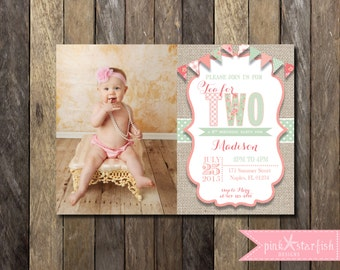 Tea Party Invitation Second Birthday Invitation Shabby Chic - Vintage girl birthday invitation
