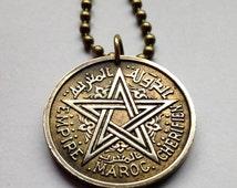 1945 Morocco 2 Francs Frank coin pendant Maroc Moroccan necklace World War 2 WWII pentagram 5-pointed star Arab Islamic Casablanca No.000997