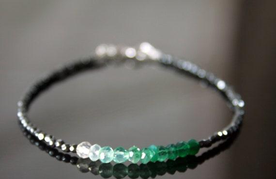 Ombre Green onyx and Hematite Beads Bracelet, Delicate Beaded Bracelet, Sparkly Stacking Bracelet