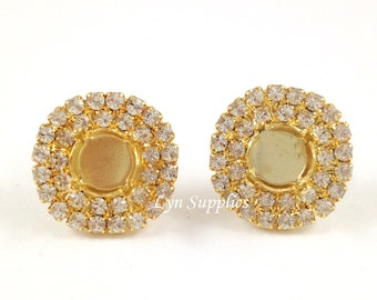 Gold Stud Earrings Settings Fits ss39 Double Row Clear Rhinestones 1 Pair