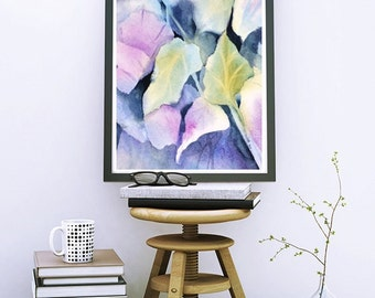 Leaves, 8x10 Print, Watercolor Print, Purple Wall Decor Art Painting, Archival Giclee Print, Purple Leave Art Large, Leaf Art,NancyKnightArt