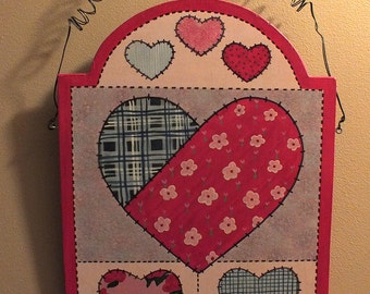 Painted Patchwork Hearts Sign