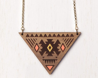 SALE - Aztec - Geometric Tribal Wood Necklace - Peach & Gold - laser cut