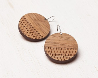 Wanderer - Geometric Tribal Wood Earrings - laser cut - Australian