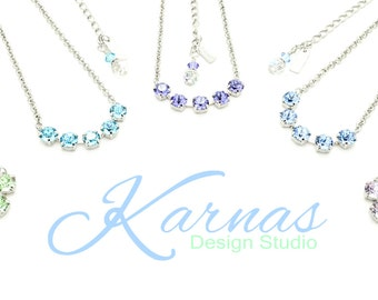 BRIDESMAID NECKLACE BUNDLE 8mm Choose Color and Finish *Swarovski Elements * Karnas Design Studio Free Shipping **Free Maid Of Honor Gift!