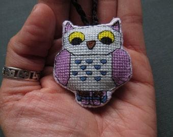 Whimsical Fantasy Owl Charm, (Purple Wings, Royal Blue Spots) by DaraCreek