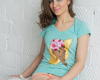 Hand painted Mint T-shirt with sweets, Colorful Women t-shirt: Icecream Star