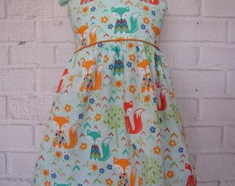 Toddler Dress, Aqua Baby Fox Dress, Foxes Aqua Orange, Little Girls Dress, Woodland Foxes Dress, Infant Girl Dress, Baby Girl Dress, Toddler