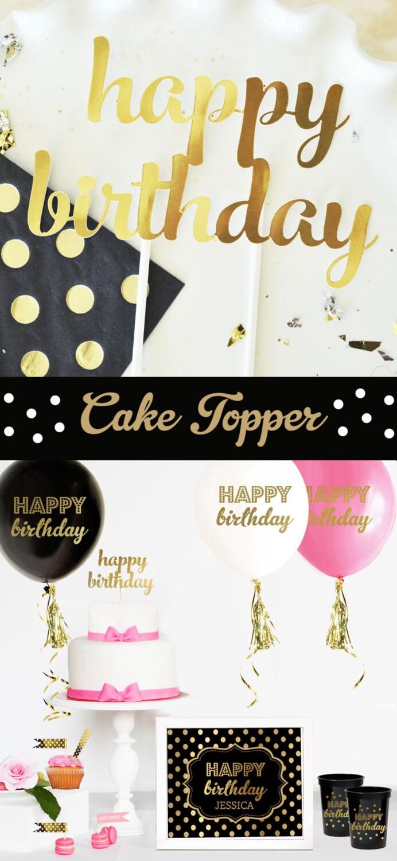 Happy Birthday Cake Topper Birthday Gold Birthday Cake Topper