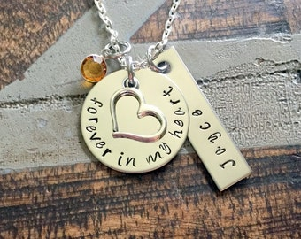 Sympathy Gift Forever In My Heart Necklace Loss of a Loved one RIP Never Forgotten In loving memory Memorial Necklace Memorial Keepsake