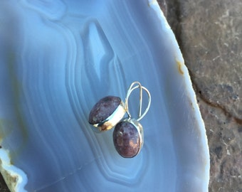 Sterling Silver and Lepidolite Earrings