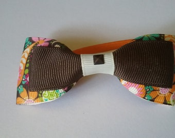 Brown and Multi Bowtie Hairtie