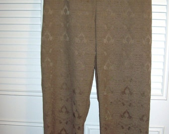 Ellen Tracy Cocoa Jacquard Pants - So Smart For Fall  - Size 14