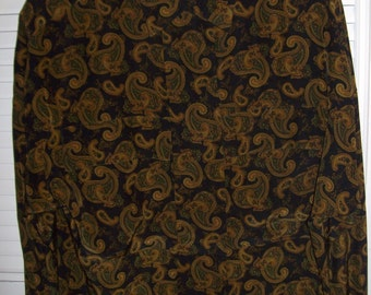 Vintage Ellen Tracy Elegant Paisley Silk Shirt - Breast Pockets. Glorious Vintage Size 12 - 14