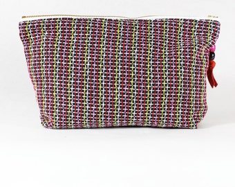 Upcycled Multicolor Woven Fabric Cosmetic Bag / Zip Pouch