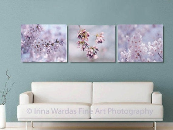 Cherry Blossom Canvas Wall Art cherry blossom art sakura canvas wall art set 3 canvas