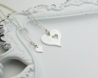 Mother Daughter Necklace Set, Gift For Mom, Matching Necklace Set, Mother Daughter Jewelry, Sterling Silver Heart Mom Necklace, Heart Charm