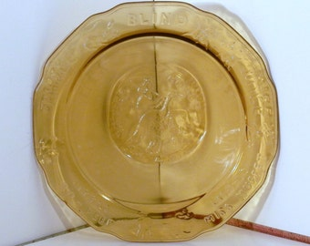 Indiana Glass Mother Goose Plate, Gold Carnival glass