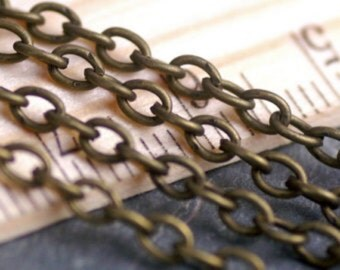 5ft Bulk Solid Brass Antique Bronze Cable Chain- 4mm