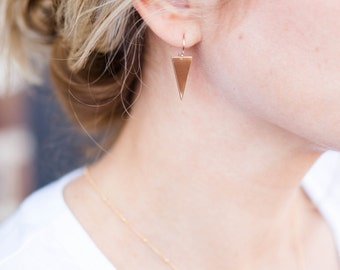 Delicate Arrow Earrings // Gold Filled Earrings // Triangle Dangle Earrings // The Denise Earring