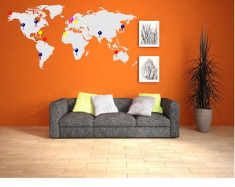 World map markers travel places vinyl decal sticker world map wall decal with markers map with markers world map with markers gumiabroncs Image collections