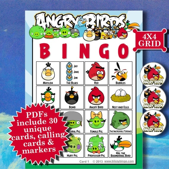 4x4 bingo template - angry birds 4x4 bingo printable pdfs contain everything you