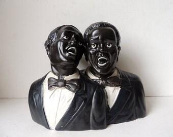 Jazz Singers Buste Statue Ceramic Figurine Black Americana 11 x  8.3 x 4.7 inch
