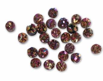 Titanium Druzy 10mm round Pink FANTASY round DRUZY stone!!! Beautiful, Quality Great!!!  (RK51B11b-05)