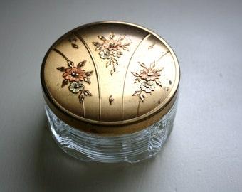 Metal Lid Powder Jar Art Deco Glass Floral