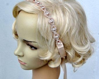 Rose Gold Rhinestone Headband Great Gatsby Crystal Headband Wedding Rose Gold Bridal tie on ribbon Headband Headpiece 1920s Flapper headband