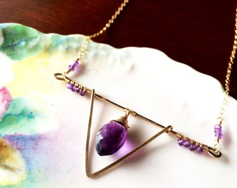 RESERVED FOR CHIA Modern Amethyst Wire Wrapped Statement Necklace, Gold Filled Bridal Jewelry
