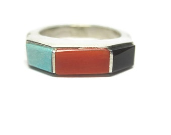 Vintage Sterling Navajo Turquoise Coral Onyx Ring Size 6