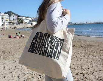 Cotton Tote Bag, Canvas Bag, Beach bag, Shopper bag, Handmade Screen Printed, Vintage look
