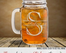 Monogrammed Mason Jar Personalized In Your Choice Of Nine Designs