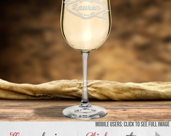 Custom White Wine Glasses – Etched Wedding Party Gifts