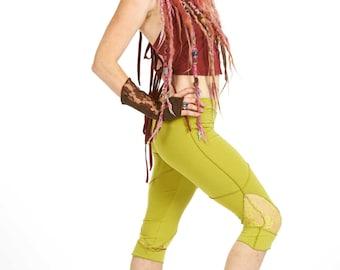 ORGANIC COTTON LEGGINGS, yoga pixie leggings, bright green psy trance leggings, boho pixie pants, lace leggings, 3/4 festival yoga pants