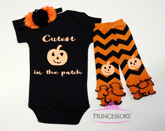 Baby Girl Halloween Outfit, Baby girl halloween costume, Baby Halloween Outfit, baby girl halloween clothes, cutest pumpkin