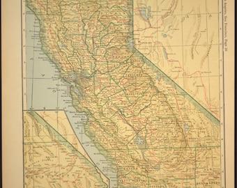 California Map California Railroad Antique Original 1920s