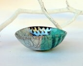 raku pottery bowl mint and gold sea inspired